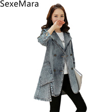 2017 New Spring Women's Denim Jackets Casual Three Quarter Sleeve Double Breasted Mid Long Jeans Windbreaker Coat Female C194
