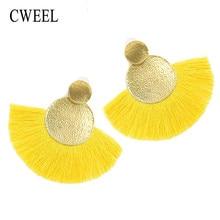 9551c710ca4a CWEEL amarillo borla pendientes para las mujeres bohemio declaración Boho  larga cuelga el pendiente círculo flor encantos .