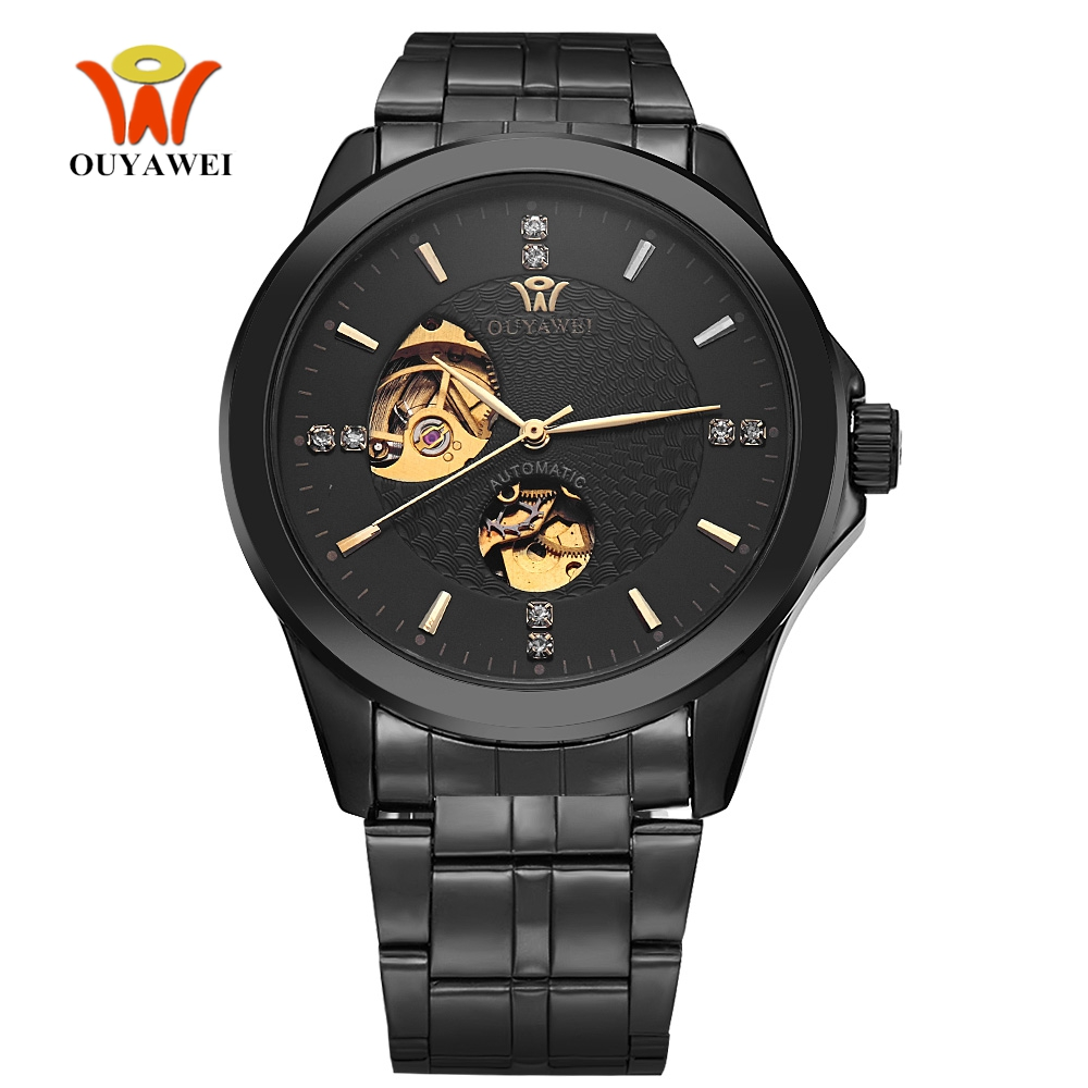 Top Brand OUYAWEI Fashion Automatic Self Wind Watch Men Male Alloy Case Full Steel Band Fashion Man Wristwatch Relogio Masculino ik brand fashion men watches silver full stainless steel automatic self wind watch men multi function clock relogio masculino