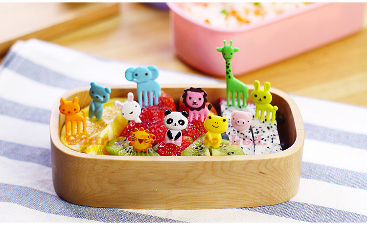 Chizequar 10pcs/set cartoon fork fruit bento lunch plastic