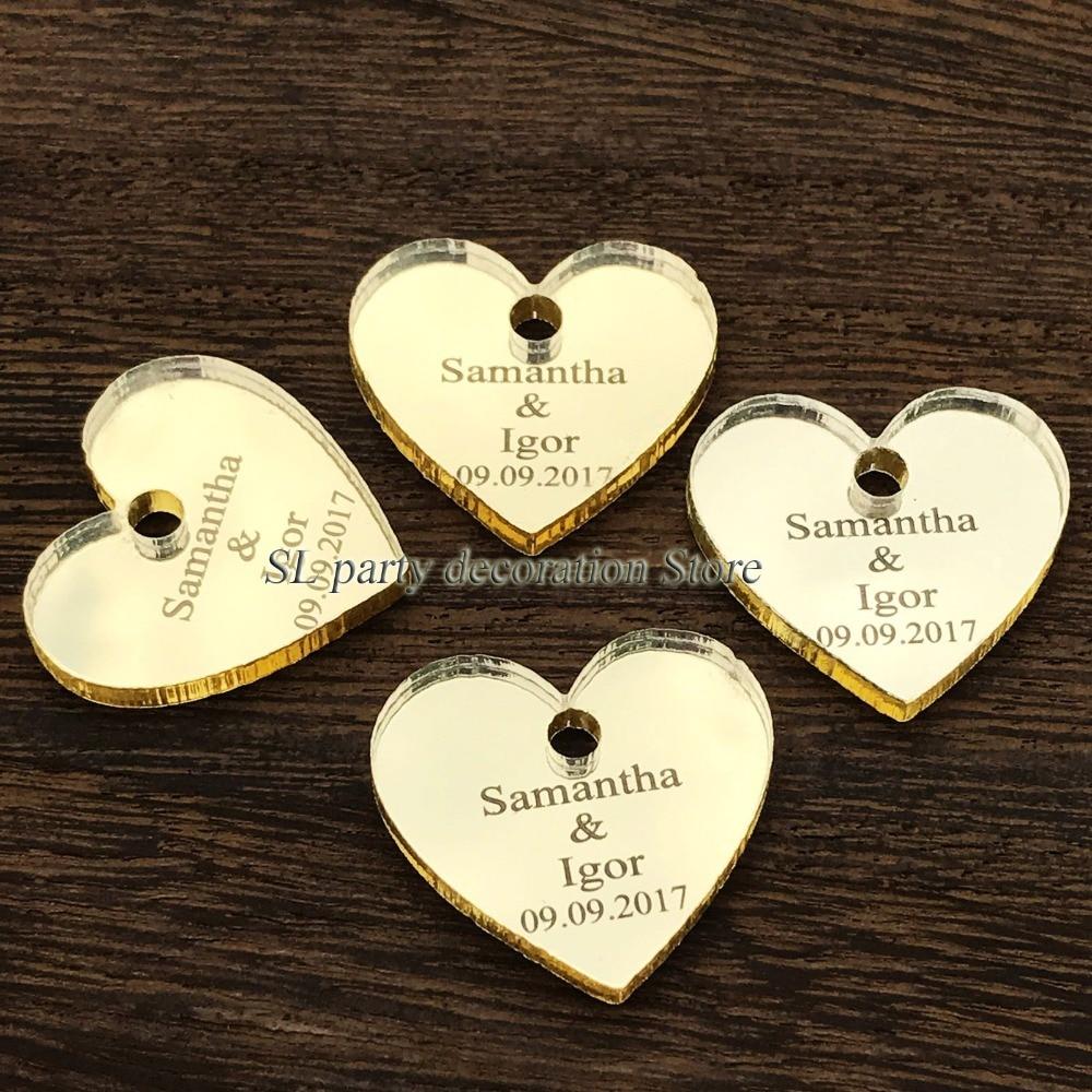 50/100 unids personalizado Mr & Mrs Mirror Love Heart Favores de boda - Para fiestas y celebraciones - foto 5
