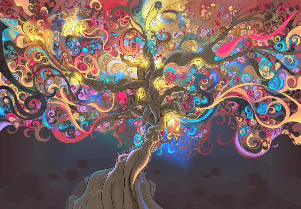 Women Bodys Tree Psychedelic Trippy Art Digital Miscellaneous Home Decoration art work Print On Canvas unframed Free Shipping