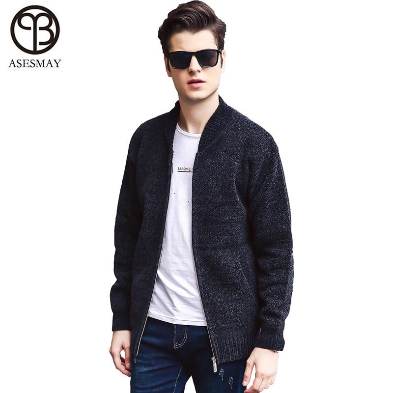 Asesmay nouvelle marque chandail hommes v-cou solide Slim Fit tricot hommes chandails Cardigan mâle 2018 automne décontracté hauts Hots