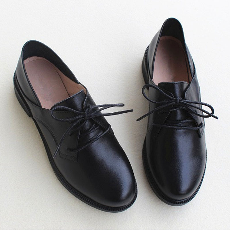 Women Shoes Black lace up Women Oxford Shoes Genuine Leather Ladies Flat Shoes Spring Female Footwear