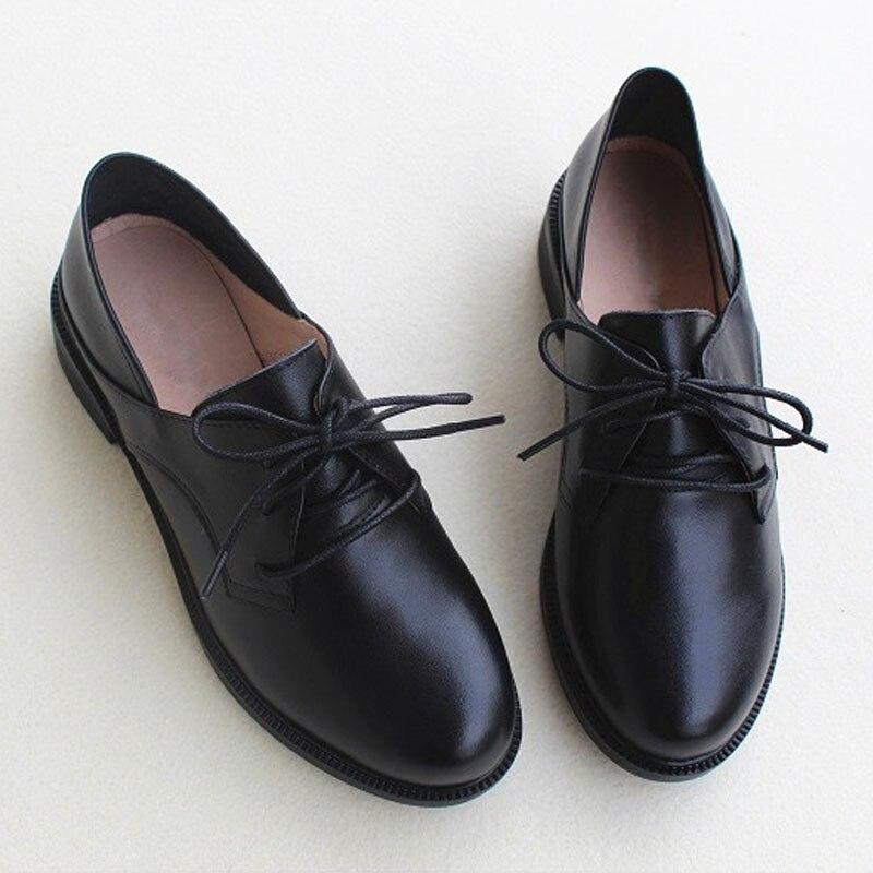 Femelle 1 Dames Noir Cuir Chaussures Véritable Up 8007 Femmes Black En Oxford Lace Printemps Plates ZCPnwq