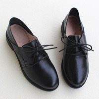 Women Shoes Black lace up Women Oxford Shoes Genuine Leather Ladies Flat Shoes Spring Female Footwear (8007 1)