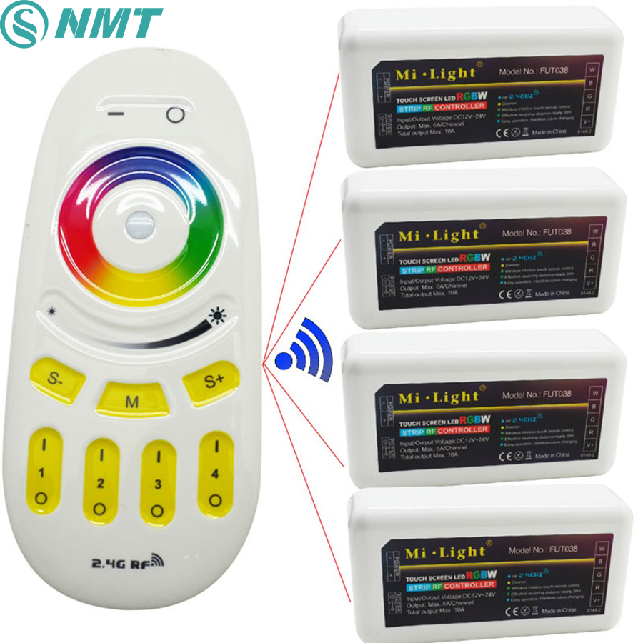 DC12V 24 V 2.4G LED de contrôle À Distance Sans Fil RF et 4 pièces 4 zones RGBW LED de contrôle Pour 5050 RGBW bande LED flexible Lumière