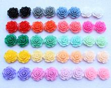 20color U Pick set of 100pcs Mixed Colors Rose Flower Flatback Resin Cabochons Artificial Rose phone Case DIY Decor 20mm