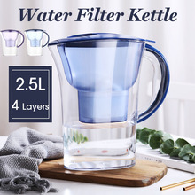 Water Filter Antioxidant Purifier Activated Carbon Kettle Household Kitchen Water Jug Pitcher Bottle Purifier 2.5L Blue Purple