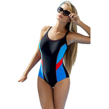New Racing Swimsuit Women Professional Sprots Swimwear Gym One Piece Swimsuit S-L Contrast Color Patchwork Monokini Bikini Set цена 2017