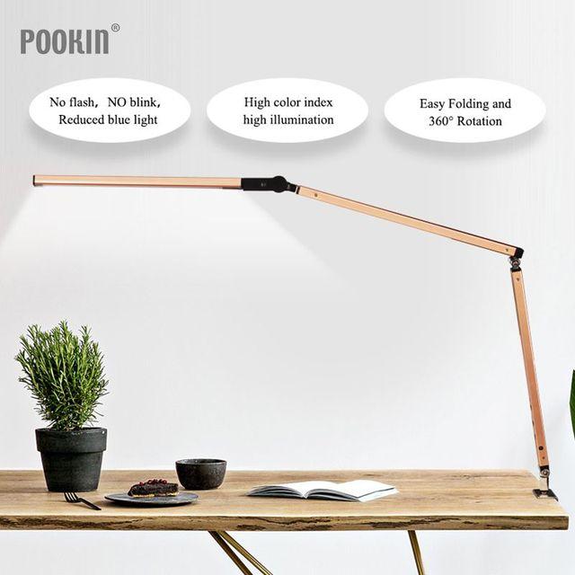 Lámpara de escritorio con brazo largo, lámpara de escritorio Led de oficina con Clip, lámpara de libro de larga vida con protección ocular para dormitorio, luz Led de 3 niveles de brillo y Color