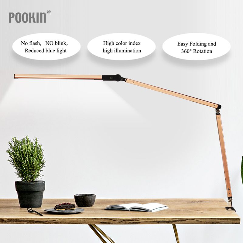 Long Arm Desk Lamp Clip Kontor LED Skrivebord Lampe Øjenbeskyttet Long Life Book Lamp til Bedroom Led Light 3-Level Brightness & Color