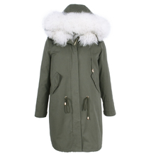 Factory direct supply new winter women coat Real Fur Rabbit liner natural cotton Large size fashion Parker Raccoon Dog Hooded