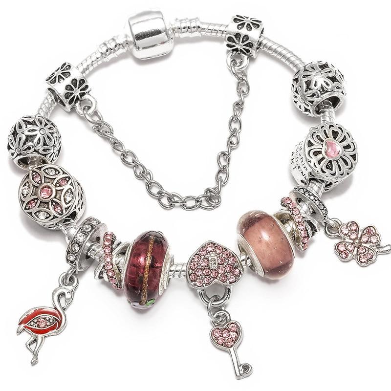 BAOPON Прямая поставка винтажные Подвески серебряного цвета браслеты для женщин DIY Кристальные бусины изящные браслеты для женщин Pulseira ювелирные изделия - Окраска металла: Type 26