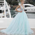 2017 New Design Sexy V Neck Prom Dresses Beading  Tulle Sweep Train  Party Gowns Formal Dress for graduation Mint Green