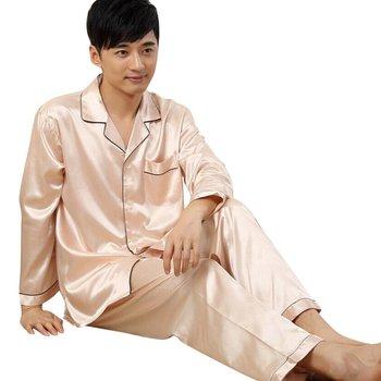 Mens Autumn Winter Soft Silk Satin Sleepwear Loungwear Robes Pajamas Pyjamas Set Newest Men's Pajama Sets
