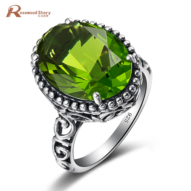 Royal Vintage Ring Olivine Created Peridot Stone 925 Sterling Silver Promise Ring For Women Wedding Gift Fine Jewelry