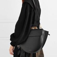 حقائب السرج عادية للنساء حقائب اليد نصف دائرة غير النظامية بولي PU حقائب كتف متنقلة سيدة الماركات سعة كبيرة بولسا
