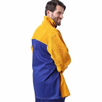 цена на Welding Jacket Leather Flame/Heat/Abrasion Resistant Hybrid FR and Cowhide Long Sleeve Worker Jacket Apparel for Welding