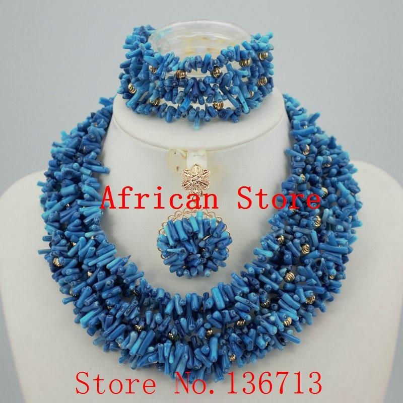 a13a206106c9 Moda nigeriana boda Africana cuentas de coral mujeres joyería conjunto  coral collar + pulsera + pendientes envío gratis R206