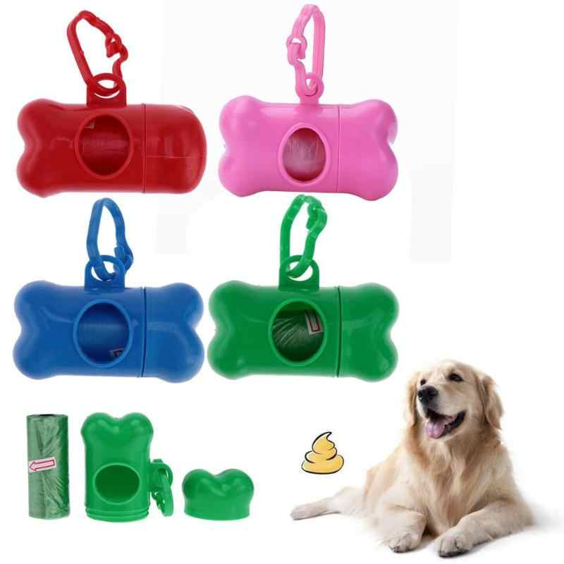 Forma de osso Pet Dog Poop Bag Holder Dispenser com 1 Rolo Caixa de Limpar o Lixo Sacola de Armazenamento Saco De Merda poop Bag Distribuidor Novo