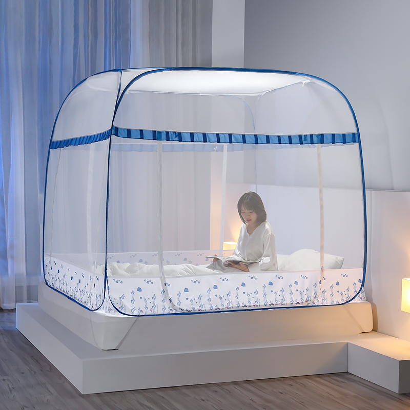 Mongolian Yurt Mosquito Net Double Bed Canopy Large Camping Mesh Tent Three-door Curtain For Home Decor Foldable Mosquito Nets