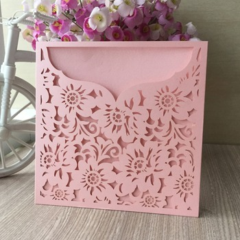 30pcs Laser Cut chinese paper craft Pink Flower Decoration Wedding Invitations Card Favor Birthday Party Card Decoration