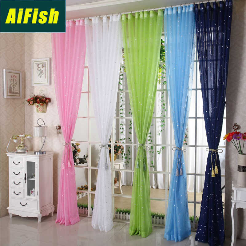 Kids Bedroom White printed Stars Window Drapes Tulle Pink Bedroom Curtain Decoration Blue Stars Sheer Curtains wp234-30
