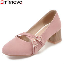 980fdb7adf8a Smirnova new arrival 2018 hot sale popular solid color casual shoes med  heels square toe pink