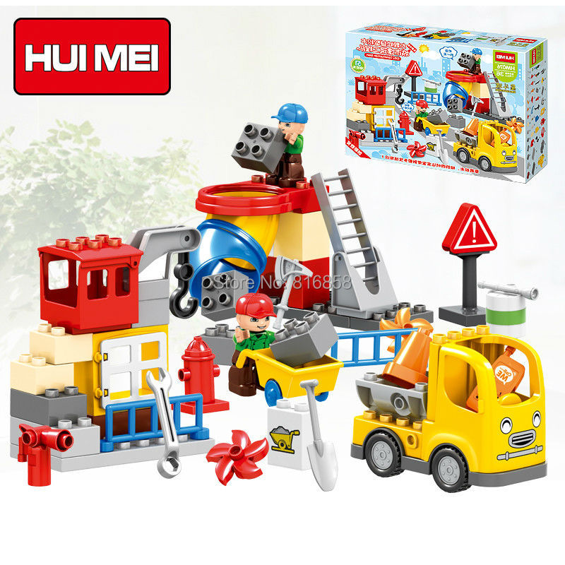Original HUIMEI 51PCS City Construction Team Worker Truck Crane Educational Brick Set Kids Toys Compatible Duplo Large Blocks loz mini diamond block world famous architecture financial center swfc shangha china city nanoblock model brick educational toys