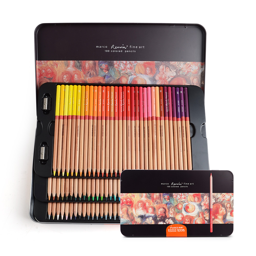 Marco Renoir fine art professional Oily Colored pencils 100 Color Painting Darwing Pencil  with Tin Box marco renoir fine art professional oily colored pencils 48 color painting pencil with tin box