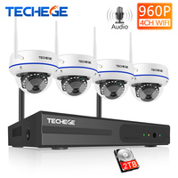 Techege 4CH Wireless NVR 960P Audio Record CCTV WiFi System 1.3MP indoor Vandalproof IP Camera Security Video Surveillance Kit