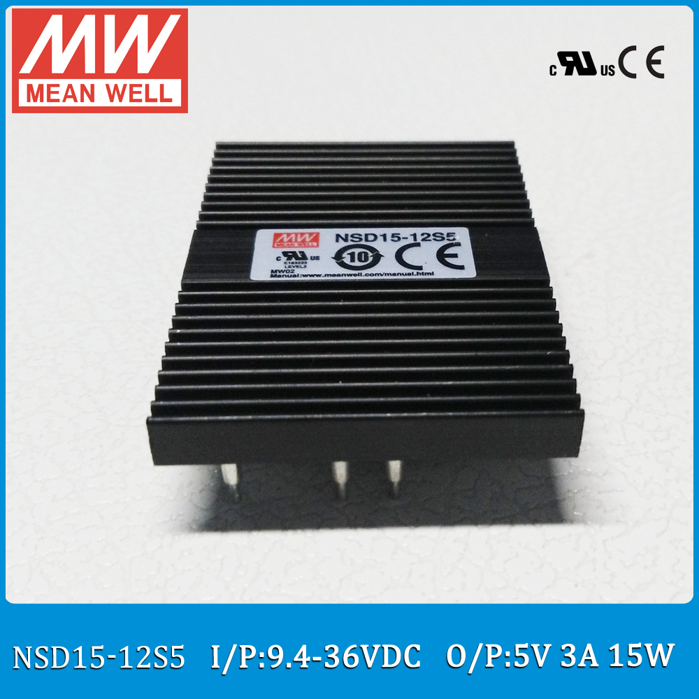 714049 s 15 5 Original Meanwell NSD15-12S5 DC Input 9.4-36V DC ouput 5V 3A 15W mean well dc/dc regulated converter 1500VDC I/O isolation