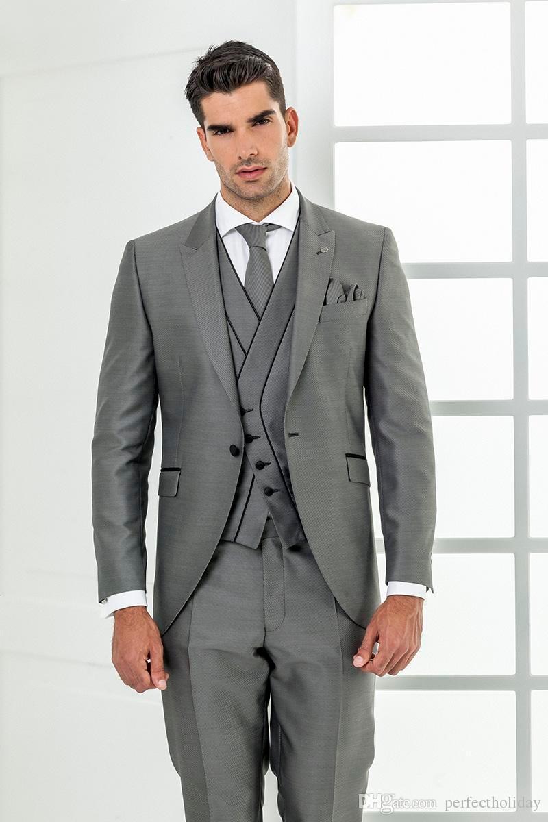 Latest Coat Pant Designs Grey Italian Prom Men Suit Slim Fit 3 Piece Tuxedo Custom Stylish Blazer Groom Suits Terno Masculino T3