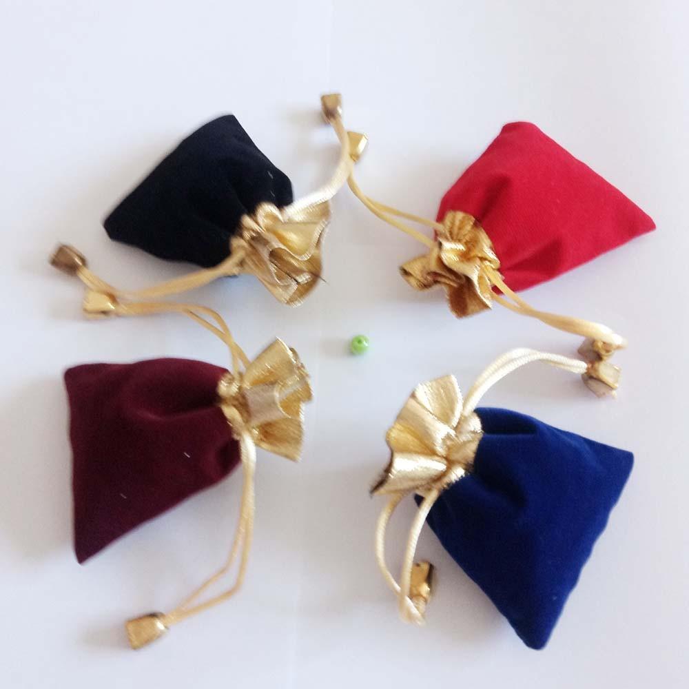 200pcs Phnom Penh Gold Bead Velvet Bag Jewellery Pouch Gift Bags Wedding Drawstring Bag Woman Jewelry
