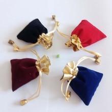 Phnom sac en velours avec perles dorées, pochette pour bijoux, pochette cadeau de mariage, pochette à cordon pour présentation de bijoux, pochette pour cadeaux, pour femme, 200 pièces