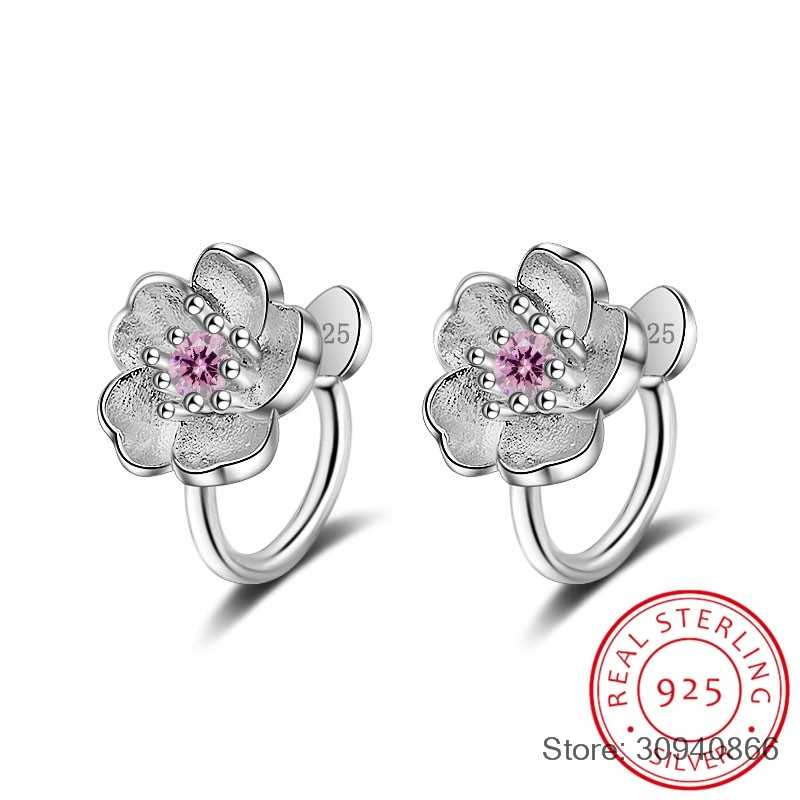 Cute 925 Sterling Silver Cherry blossoms Flower Set Pink CZ Hoop Earring For Women Girls Kids Jewelry Orecchini Aros Aretes