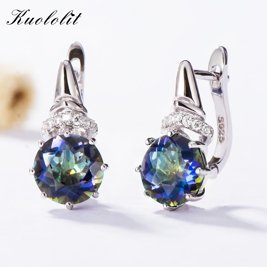 Kuololit 4.7ct Pure Blueish Mystic Quartz Clip Earrings for Ladies 925 Sterling Silver Gemstone Tremendous Jewellery Engagement Reward Earrings, Low-cost Earrings, Kuololit 4.7ct Pure Blueish Mystic Quartz Clip Earrings...