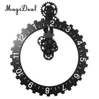 3D DIY Large Wall Art Rotary Gear Clock Mechanical Calendar for Living Room Bedroom Home Decorations Black
