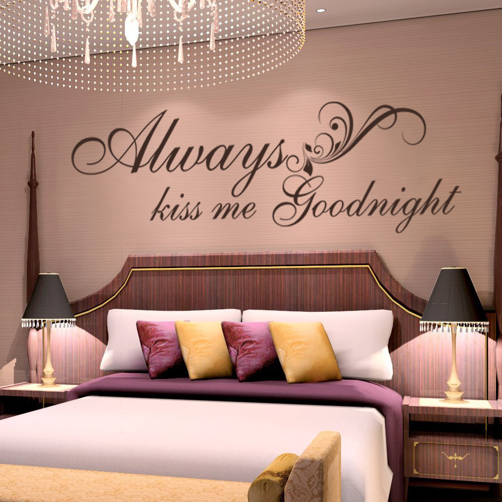 Always Kiss Me Goodnight Quote Vinyl Wall Decal Love Wall Sticker 18cm x 56cm