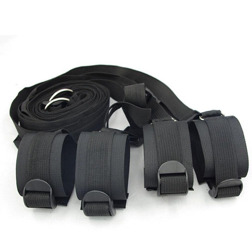 Buy Sex Restraint Adjustable Belt Nylon Handcuffs Ankle Cuffs Bed BDSM Bondage Erotic Toys Fixation Adult Game Couples