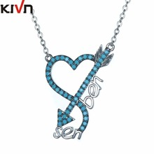 KIVN Fashion Jewelry CZ Cubic Zirconia Heart Arrow Womens Girls Wedding Pendant Necklaces Promotion Christmas Birthday