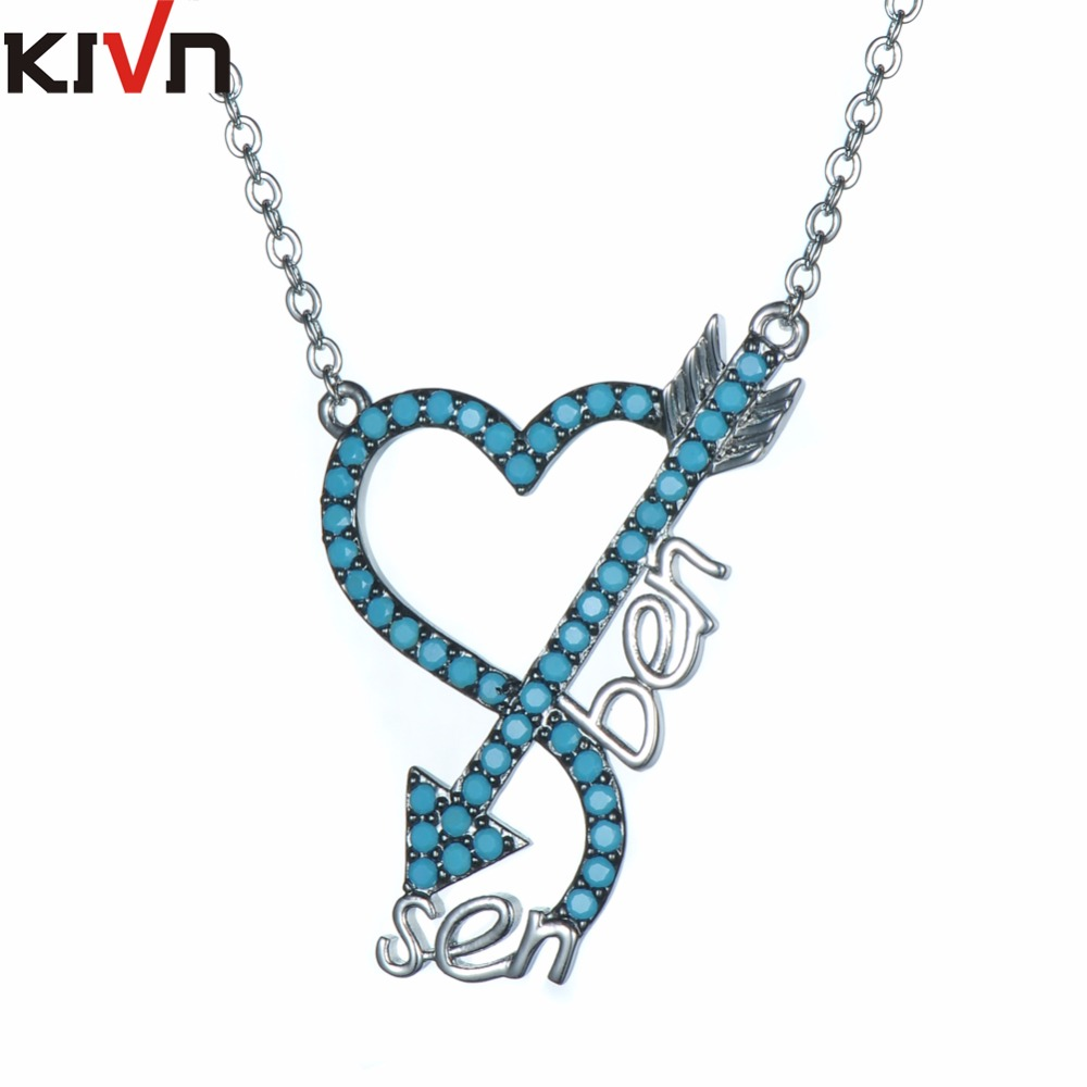KIVN Fashion Jewelry CZ Cubic Zirconia Heart Arrow Womens Girls Wedding Pendant Necklaces Promotion font b