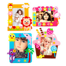 Diy Kids Craft Kits 6 Inch Felt Photo Frame Kindergarten Handmade Decoration Toys For Children Animal Lion Bird Giraffe Pattern(China)