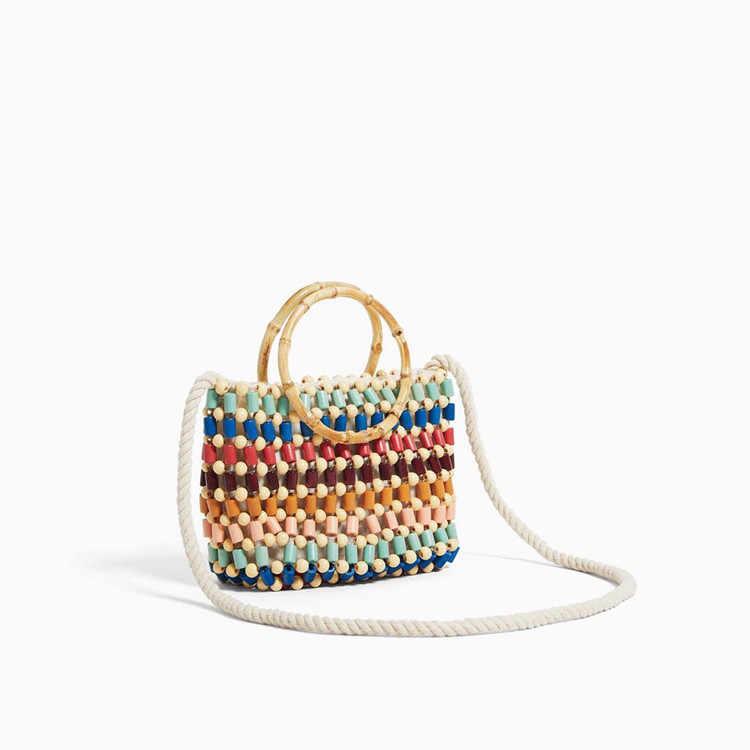 Baru Warna Kayu Manik-manik Musim Panas Fashion Wanita Liburan Tas Tangan Tas Bahu Gaya Tas Harian Jerami Menggendong Tas Tas Selempang