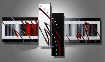 Hand Painted Black White Abstract On Canvas Oil Painting No Frame Wall Art Pictures For Hotel/KTV Wall Art Decor Hang Paintings