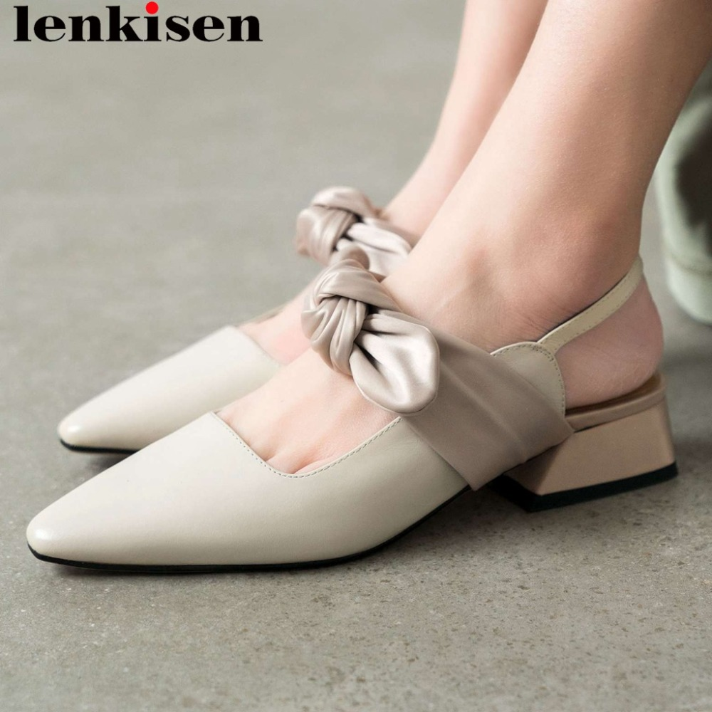 Lenkisen preppy sweety girls sheep leather classic square toe slip on slingback women pumps low heels butterfly-knot shoes L17