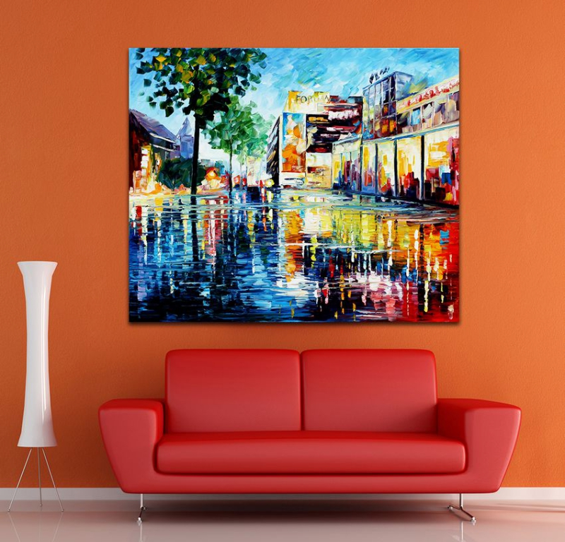 100 Hand Painted Palete font b Knife b font Modernism Western Style Architectures Canvas Oil Painting