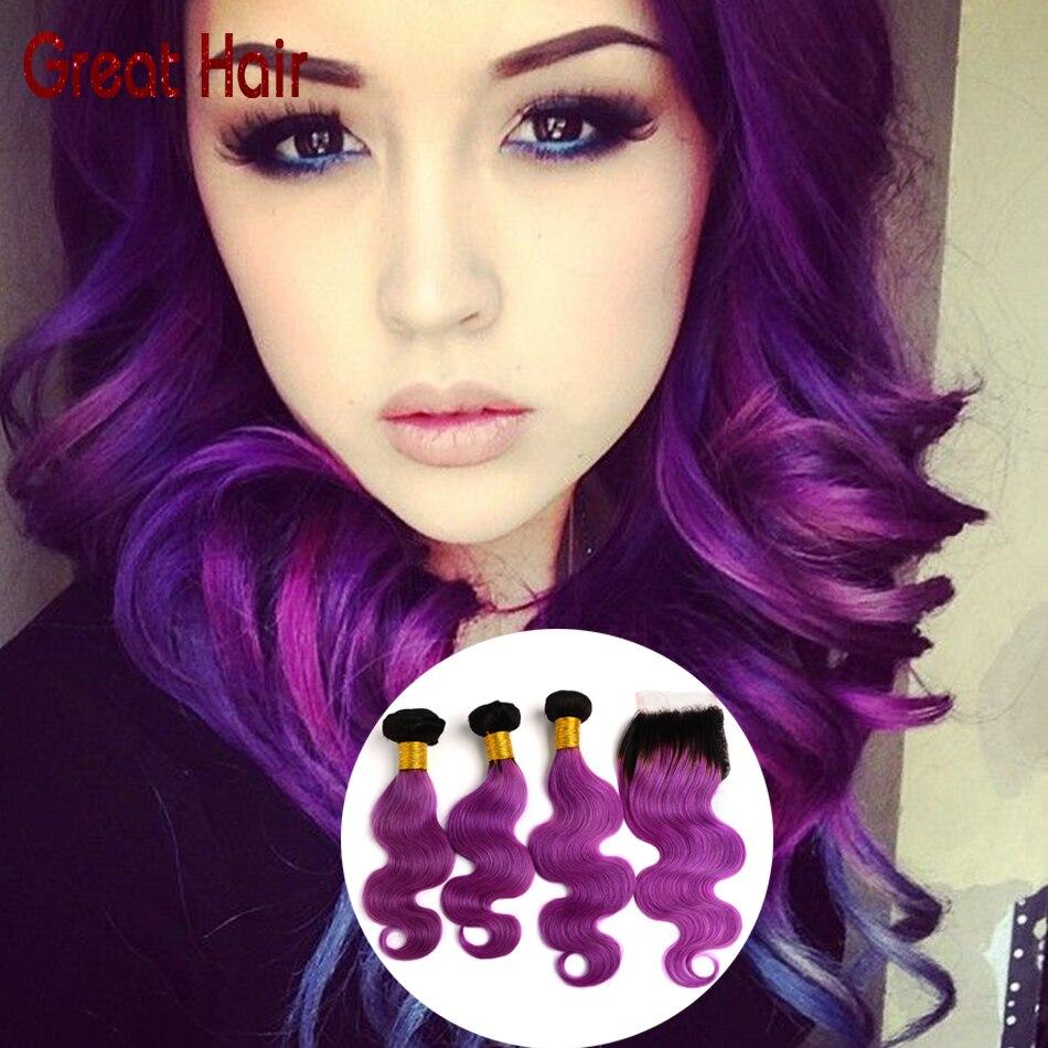 1b purple ombre brazilian hair