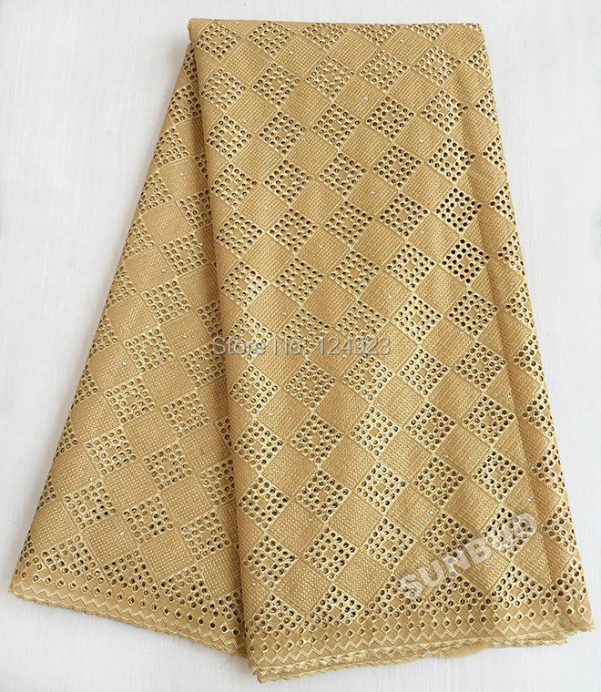 Plain Gold 5 yards Real Swiss Voile lace African Swiss lace fabric used for men and